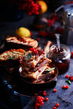 chocolate cherry cake with chocolate oat streusel. Stock photo © zoryanchik