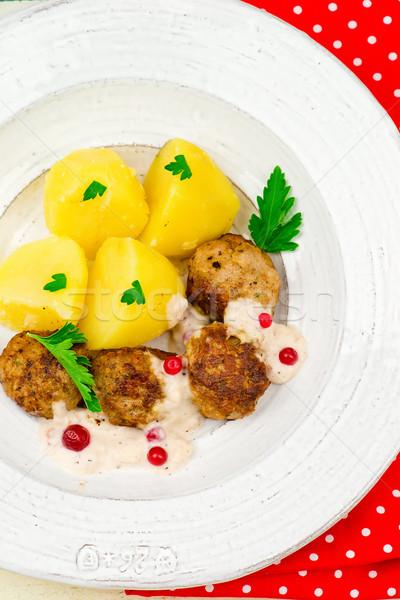 Сток-фото: мяса · соус · картофель · традиционный · норвежский