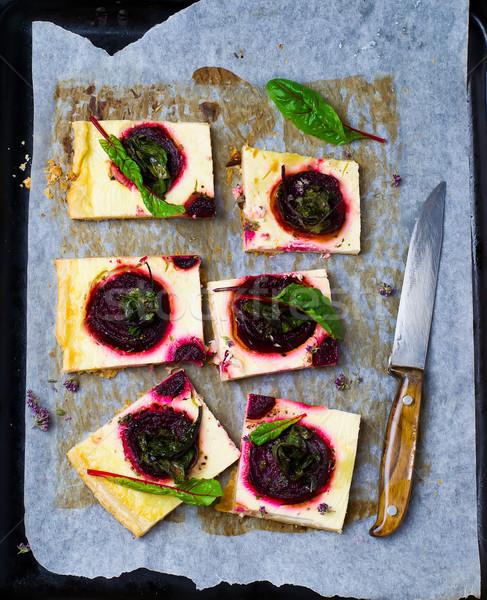 tart with cheese and beet Stock photo © zoryanchik