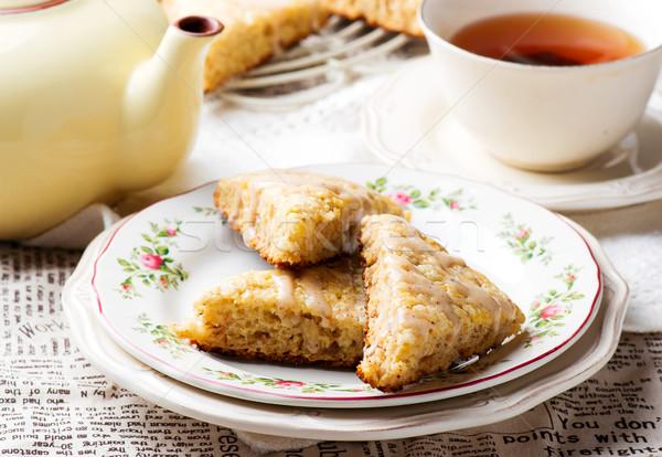 Banana canela creme queijo comida café da manhã Foto stock © zoryanchik