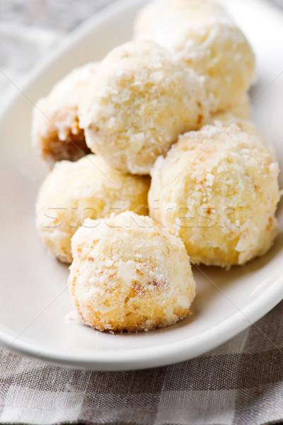 Сток-фото: кокосового · деревенский · фон · завтрак · белый · свежие
