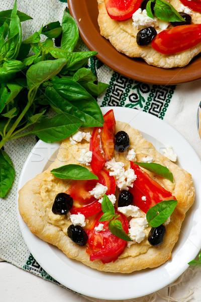 Pita frango salada fresco churrasco refeição Foto stock © zoryanchik