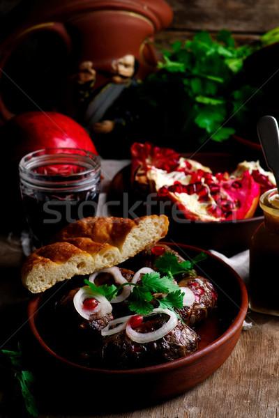 Kebab vlees vers barbecue schotel voorgerechten Stockfoto © zoryanchik