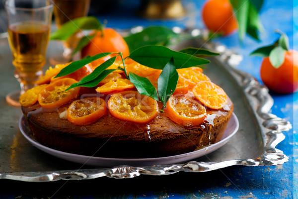 Madeira kek odak gıda tatlı İngilizce Stok fotoğraf © zoryanchik