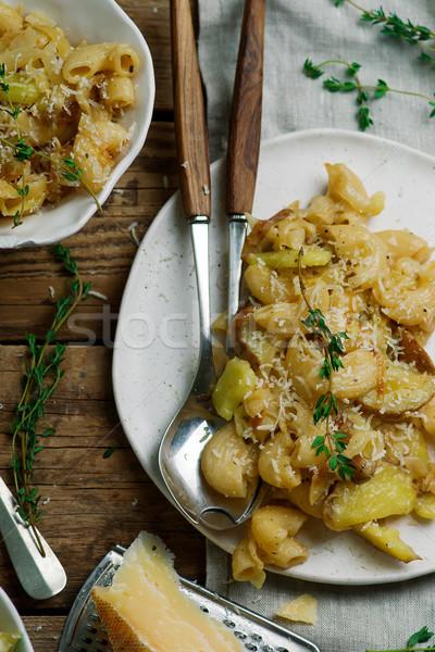 Tészta krumpli káposzta sajt tányér bors Stock fotó © zoryanchik