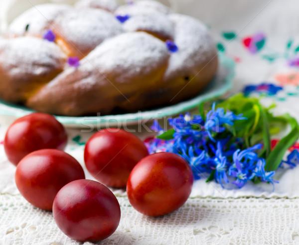Pasen gekleurde eieren lentebloemen selectieve aandacht voorjaar ei Stockfoto © zoryanchik