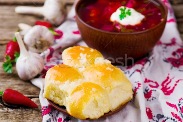 Pampushki ,the traditional Ukrainian pastries  Stock photo © zoryanchik