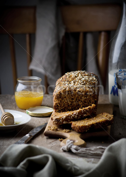 the cake with bran and sunflower seeds  Stock photo © zoryanchik