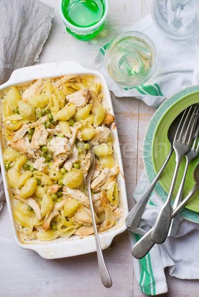 Chicken and pea pasta bake Stock photo © zoryanchik