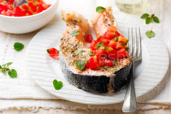 Grillezett lazac oregano salsa étel hal Stock fotó © zoryanchik