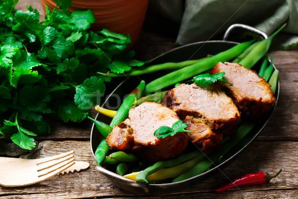 Slow Cooker Chipotle-Honey Pork Tenderloin  Stock photo © zoryanchik