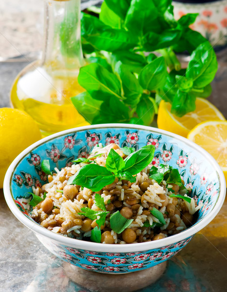 Rice, Lentil and Chickpea Salad with Herbs. Stock photo © zoryanchik