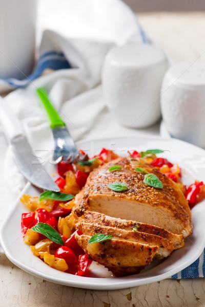 Сток-фото: курица-гриль · груди · овощей · продовольствие · куриные · обеда