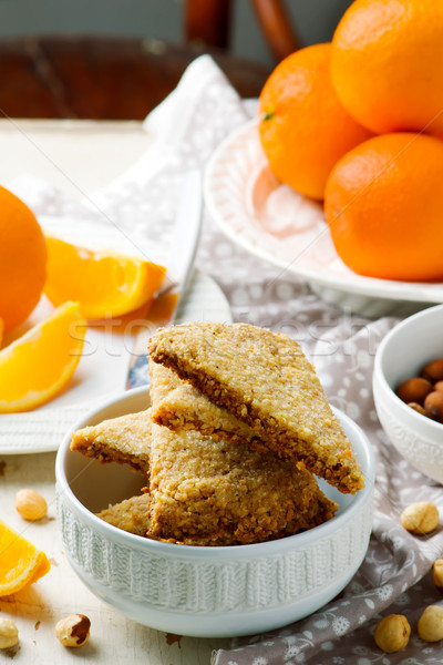 Mogyoró narancs rusztikus étel reggeli fehér Stock fotó © zoryanchik