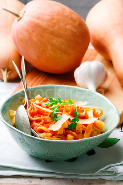 Alfredo pasta sauce with butternut squash, garlic and Parmesan .selective focus Stock photo © zoryanchik