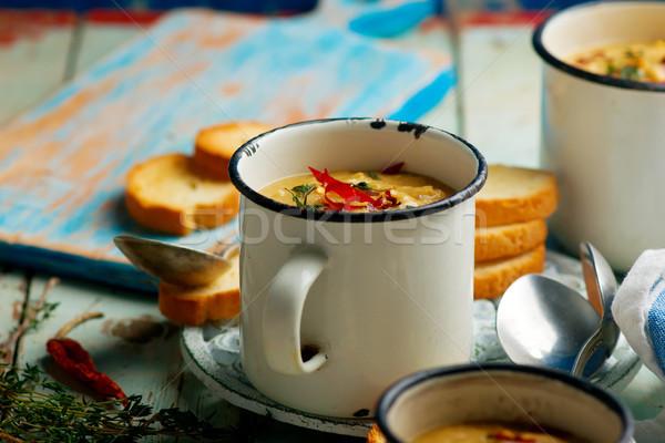 Czerwony soczewica korzeń zupa jarzynowa Zdjęcia stock © zoryanchik
