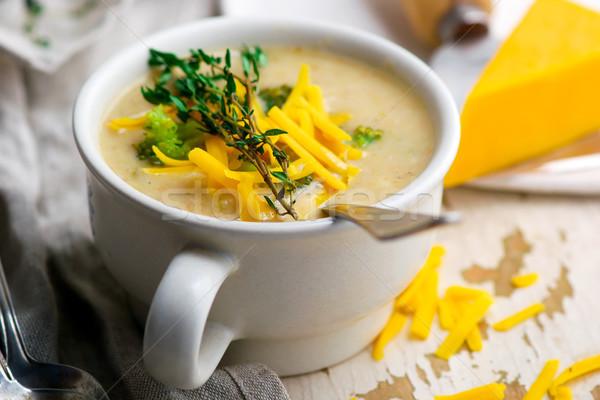 Brokuły cheddar kurczaka zupa Zdjęcia stock © zoryanchik