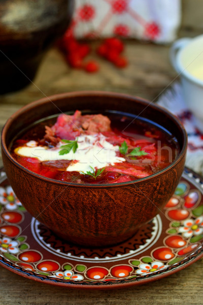 Traditionnel crème soupe céramique bol alimentaire Photo stock © zoryanchik