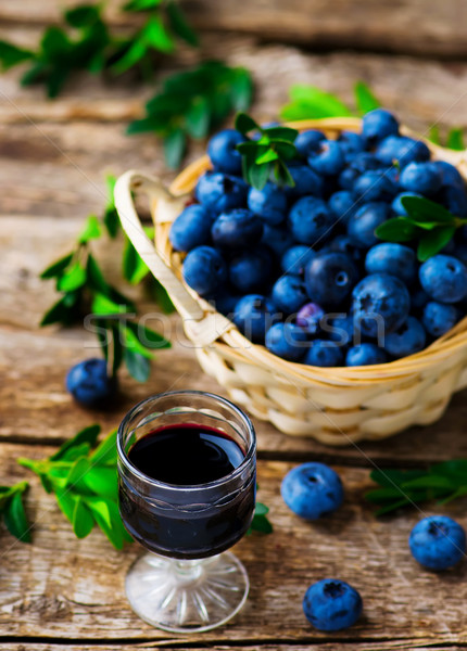 liqueur from blueberry in a shot glass Stock photo © zoryanchik