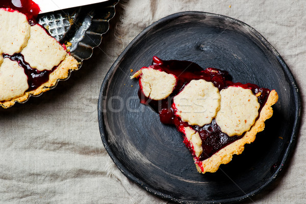 almond tart with cherry.  Stock photo © zoryanchik