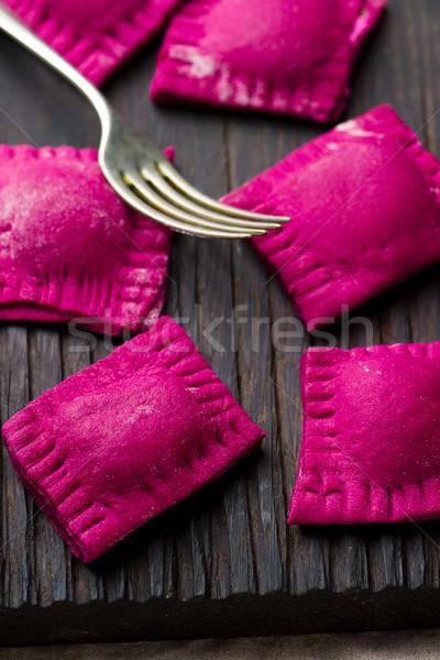 Ravioli boord selectieve aandacht kaas diner pasta Stockfoto © zoryanchik