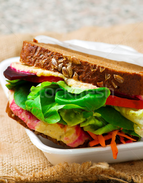 Vegetarian Hummus and Pickled Vegetable Sandwich...style rustic. Stock photo © zoryanchik