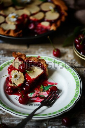 Stock photo: salty blood orange brownies with nuts and thyme