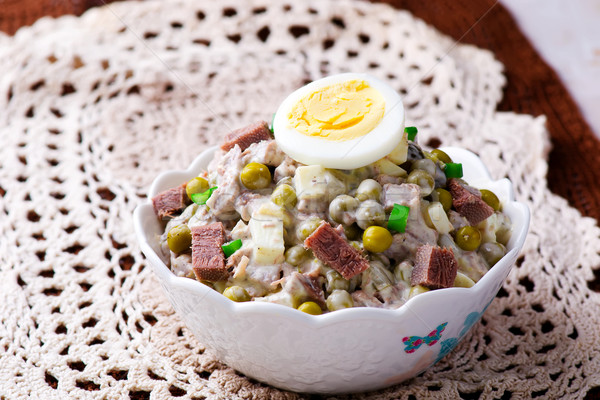 salad with veal tonque and mayonnaise. Stock photo © zoryanchik