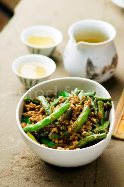 Sült zöldbab kínai szelektív fókusz zöld vacsora Stock fotó © zoryanchik