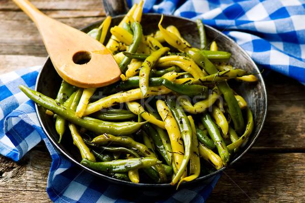 Groene bonen selectieve aandacht groene diner plaat chinese Stockfoto © zoryanchik