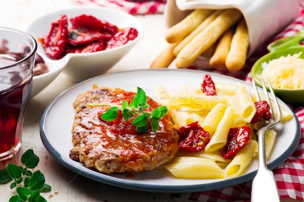 Pork Cutlets in Pizzaiola Sauce. Stock photo © zoryanchik