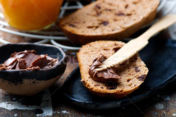 chocolate brioche with orange jam.selective focus Stock photo © zoryanchik
