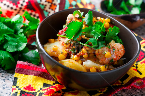 mexican cod and potato stew. selective focus Stock photo © zoryanchik