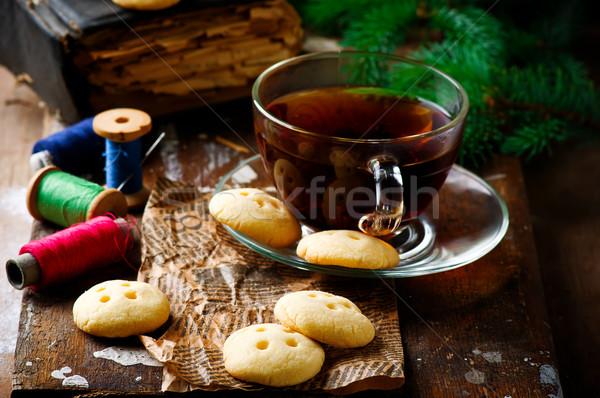 Botão rústico café da manhã branco fresco doce Foto stock © zoryanchik