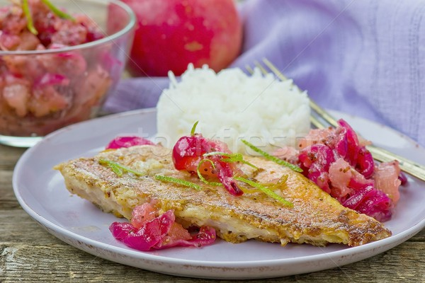 Frit mer pomme poissons dîner rouge Photo stock © zoryanchik
