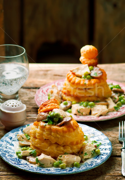Chicken in a Puff Pastry Shell volauvent. Stock photo © zoryanchik