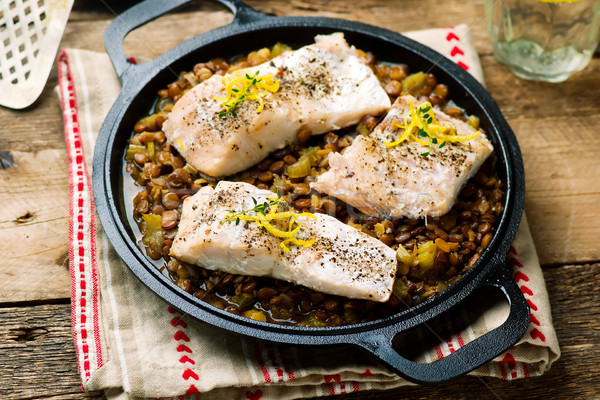 White Fish with Lentils Stock photo © zoryanchik