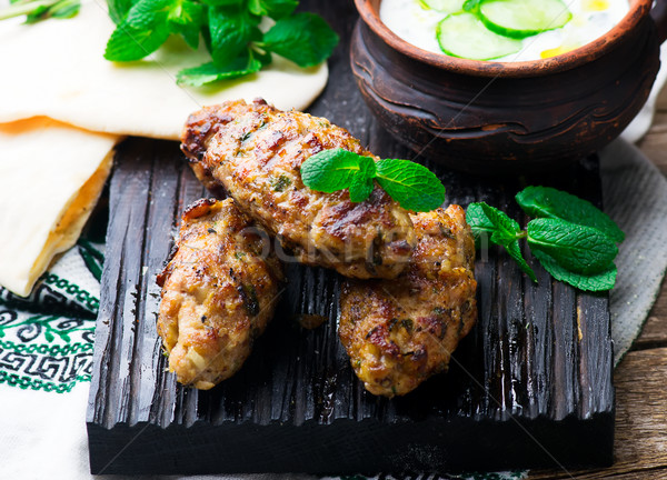 Chicken Kafta Kebabs with pita and tzatziki Stock photo © zoryanchik