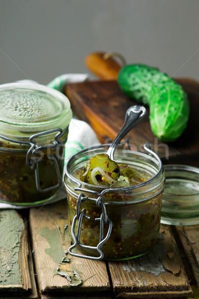 Stockfoto: Augurken · glas · jar · stijl · rustiek · selectieve · aandacht