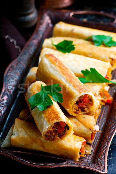 Turkish  lavash roll.style rustic.selective focus Stock photo © zoryanchik