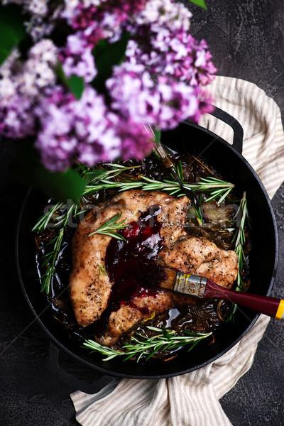 Törökország áfonya balzsam rusztikus hús tábla Stock fotó © zoryanchik
