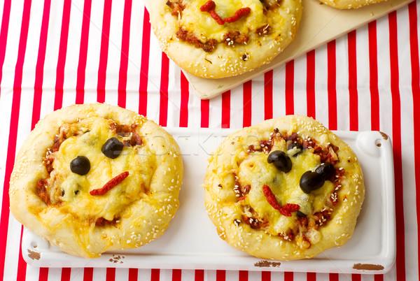 pizza with ground meet and cheese Stock photo © zoryanchik