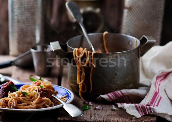 Stock fotó: Hús · golyók · paradicsomszósz · spagetti · stílus · rusztikus