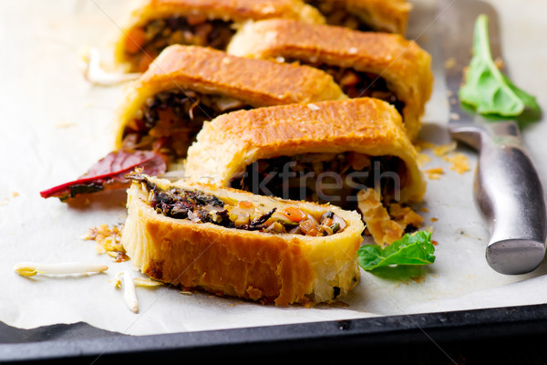 MUNG BEAN, MUSHROOM AND VEGETABLE STRUDEL.  Stock photo © zoryanchik