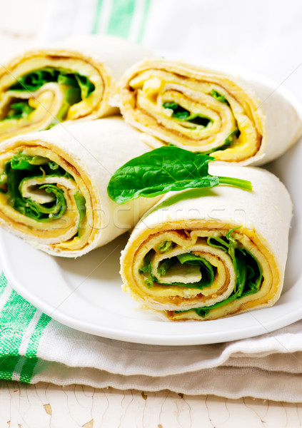 Easy Breakfast Roll-Ups with omelet ,cheese and spinach  Stock photo © zoryanchik