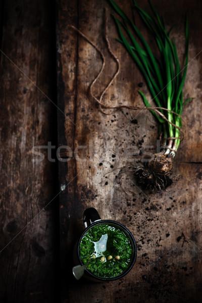 Verde aglio pesto stile rustico primavera Foto d'archivio © zoryanchik