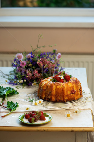 Morango ruibarbo vintage fundo bolo sobremesa Foto stock © zoryanchik
