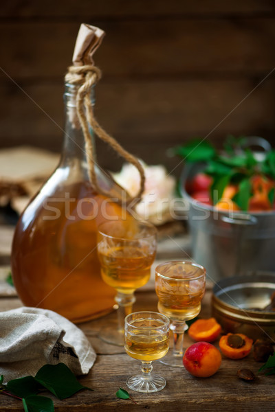 Apricot liqueur.style vintage. selective focus Stock photo © zoryanchik
