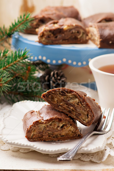 chocolate strudel with ricotta and pears.  Stock photo © zoryanchik