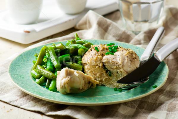 Pechuga de pollo microonda hortalizas alimentos pollo cena Foto stock © zoryanchik